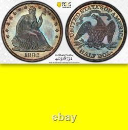 1882 Pcgs Pr64 Cac 4 400 Frappé + 1 100 Proof = Plus Bas 50c Assis Demi-dollar