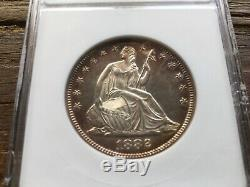 1882 Preuve Moitié Liberté Assis Dollar Anacs Pr62 Belle Tonique