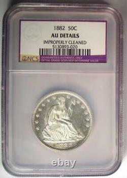 1882 Seated Liberté Demi-dollar 50c Coin Certifié Ngc Au Détails Date De Rare