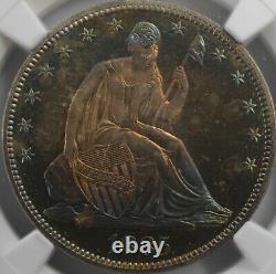 1885 50c Assis Demi-dollar Arc-en-ciel Tonique Ngc Pf66