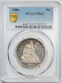1886 50c Seated Liberty Demi-dollar Pcgs Pr 63 Proof Toned Date De La Clé Tough