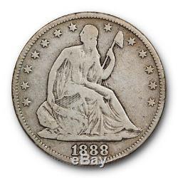 1888 Assis Liberté Demi-dollar Très Bon Vg Clés Date Tirage Limité