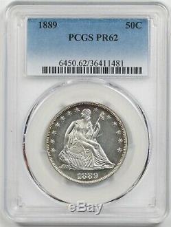 1889 50c Pcgs Pr 62 (preuve) Liberté Assis Demi-dollar