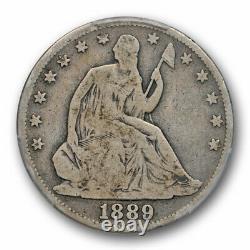 1889 50c Seated Liberty Demi-dollar Pcgs Vg 8 Très Bonne Date De La Clé Rims Pleins