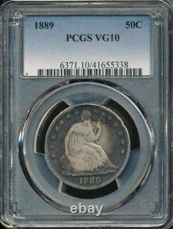 1889 Assis Liberty Demi-dollar Pcgs Vg 10 Faible Monnaie De Seulement 12.000