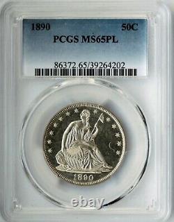 1890 Liberty Assis Demi-dollar Pcgs Ms65pl All White Pcgs Top Pop Pl