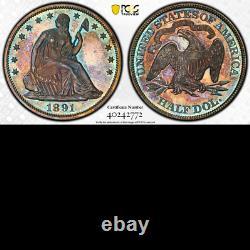 1891 Pcgs Pr64 Mintage 600 Couleurs! Dernière Année Assis Demi-dollar Proof 50c