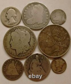 Argent Lot 1890 O Morgan Peace Dollar 1817 Buste À Moitié Assis Quart Mercure Dime