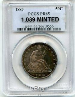 C6842- 1883 Preuve Assis Liberté Demi-dollar Gpc Pr65 Arc-en-1039 Minted