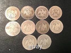 La Moitié Assis Dollar Lot 10 Pièces Ag-bon 1853 Flèches 1854 O Belle Début Argent Lot