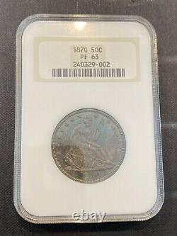 M13152- 1870 Preuve Assis Liberty Half Dollar Ngc Pr63 Couleur- Vieux Porte Gras
