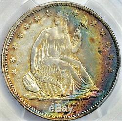 Pcgs 1857 Cac Tonique Assis Liberté Demi-dollar Tonifiantes Arc-en-