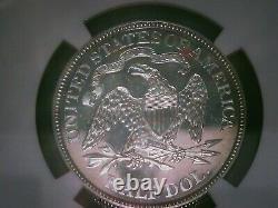 Rare 1871 Seated Demi-liberté Dollar Ngc Pr62 Seulement 960 Minted