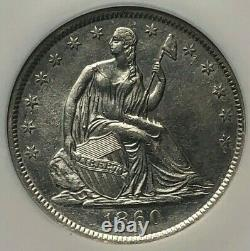 Ss Republic, U.s. Issue 1860 O Effet De Naufrage (b)unc Liberté Assise Demi-dol